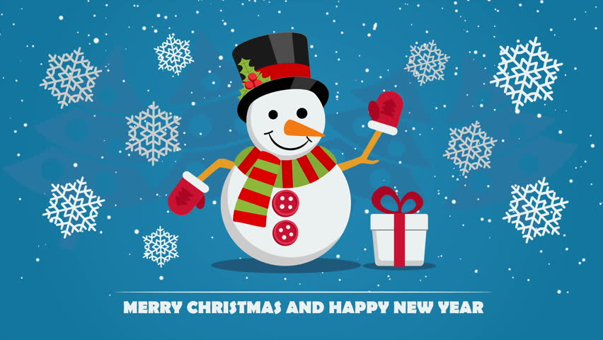Cartoon santa claus happy new years stock footage video 7846699 snowman near gift box with ribbon and text below on christmas eve xmas and new m4hsunfo Images