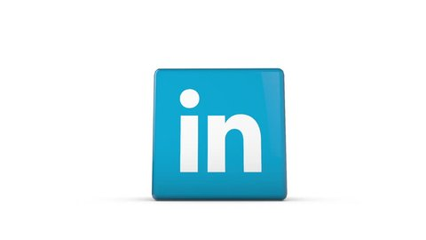 OXFORD, UK - DECEMBER 11th 2016: A 3D rendering of a spinning cube with the linkedin logo. linkedin is a popular service for business connections