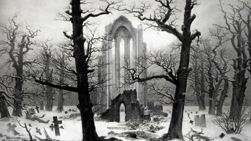 Composite animation of Monastery Graveyard Under Snow by Casper David Friedrich.