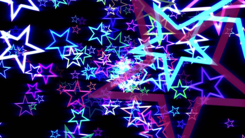 Blue Disco Retro Stars Burst Psychedelic VJ Motion Background Loop roll left