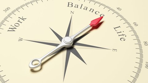 Compass Pointing to Balance, Work and Life