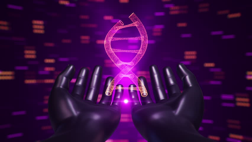 Abstract background with animation of rotation DNA helix in abstract hands of human. Animation of seamless loop. | Shutterstock HD Video #22228159