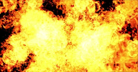 real blast of fire explosion flames burn movement on black background, flame intro