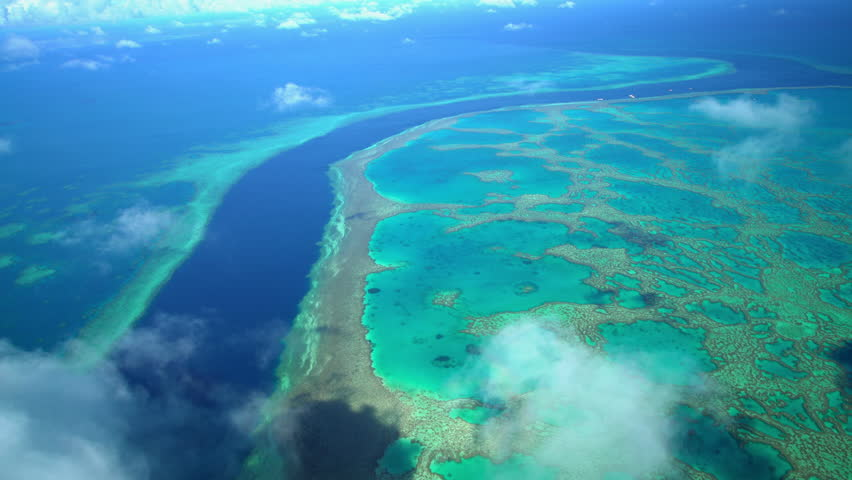 Aerial Australia Barrier Reef Queensland Coral Sea ocean Seascape Tropical travel vacation tourism holiday outdoor adventure Coral Reef summer sunshine | Shutterstock HD Video #22246297