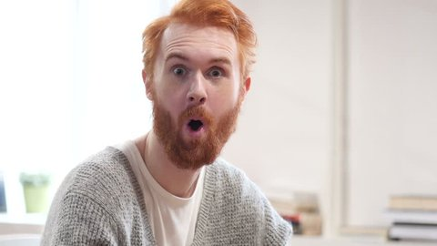 Amazed Surprised Man with Red Hairs