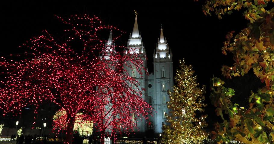 SALT LAKE CITY, UTAH - DEC 2016: Salt Lake City Temple Night ...
