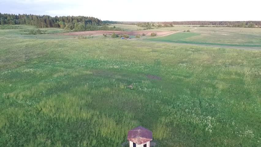 Flight Over The Meadow Near Little House Backwards 2 | Shutterstock HD Video #22259077