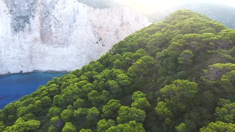 Dramatic Aerial Footage Shipwreck Bay,  Navagio Beach, Zakynthos, Greece