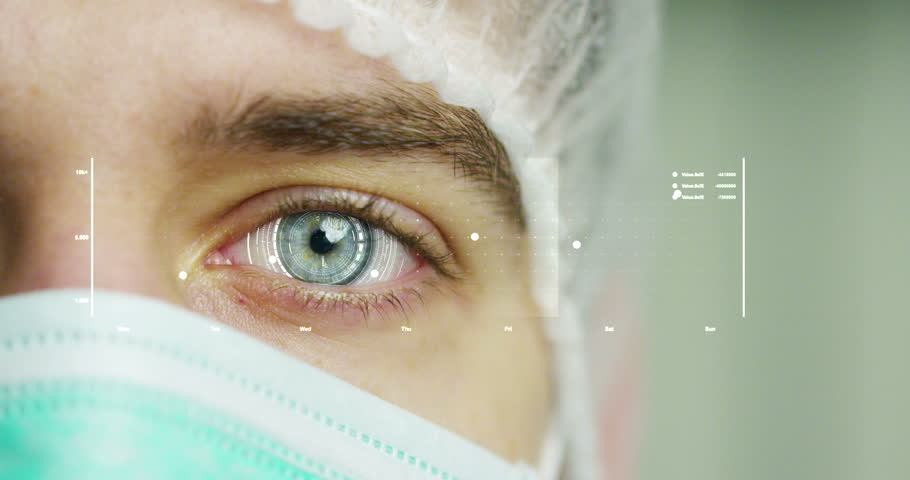 close up or macro of an eye of a doctor, surgeon. futuristic and technological vision of medical care and patient protection. futuristic medicine, technology Eye, medical holography, future #22269247