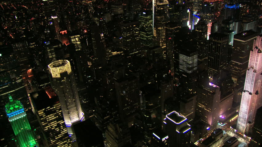 Aerial night shot panning past new york ge building | Shutterstock HD Video #22309447