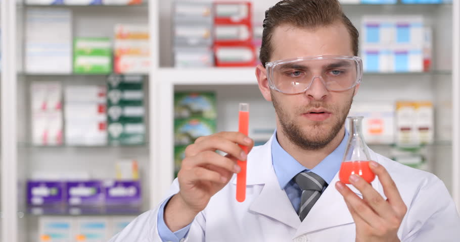 Pharmaceutical Industry Research Lab Chemist Man Develop New ...