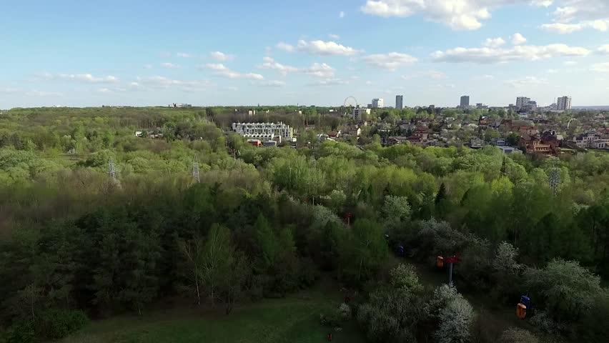 Kharkiv city center with beautiful green Gorky park, aerial video