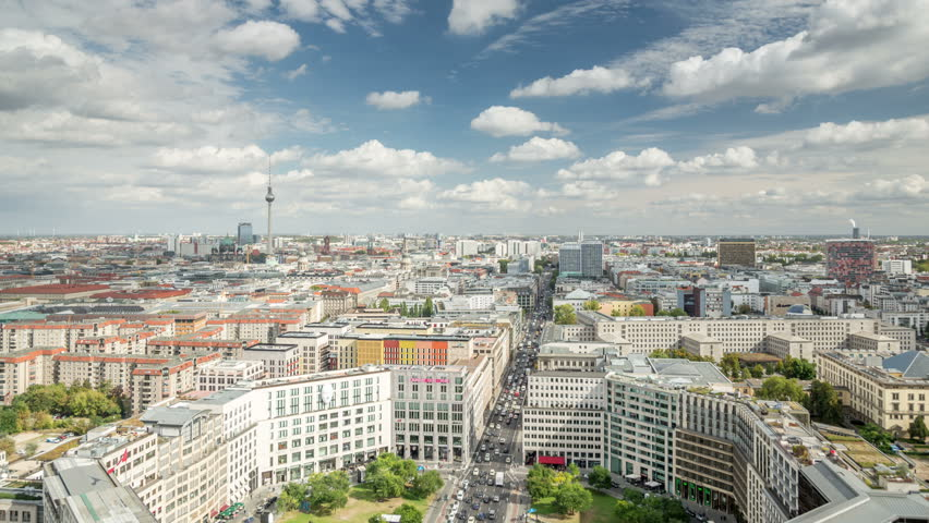 Berlin. City panorama. View from Potsdamer square. Leipziger street, one of the major streets in Berlin, connects West and East side.