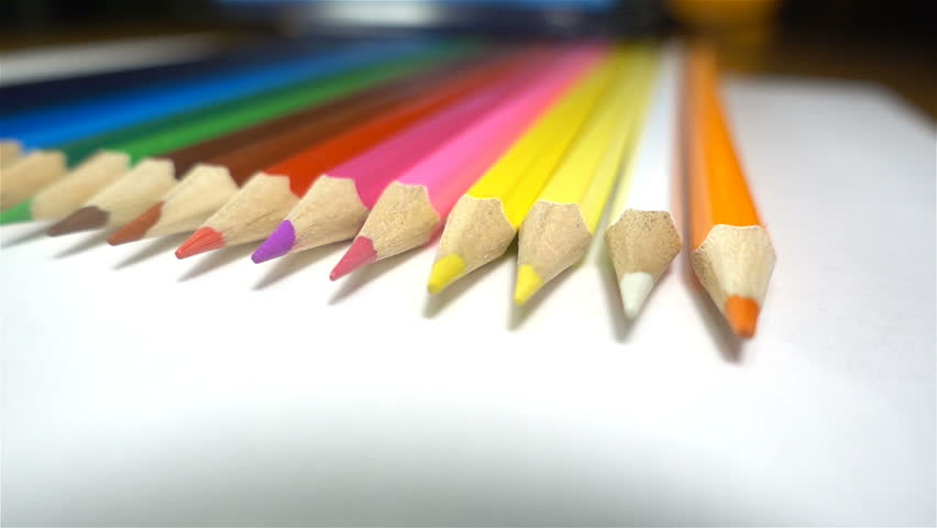 Colored pencils on white background, closeup, HD | Shutterstock HD Video #22355275