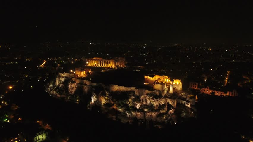 4K Drone Shot Of Acropolis By Night