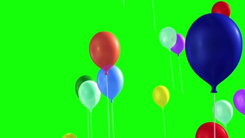 Many Balloons Flying in the Sky Green Screen