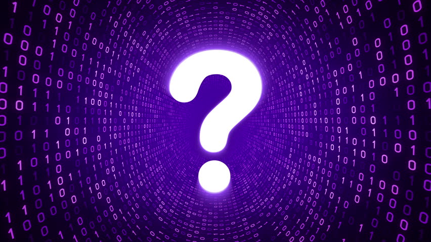 White Question Mark Icon Form Blue Binary Tunnel On Black