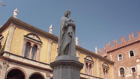 Dante's Monument in Piazza Signori in the Historical Center of Verona, Italy