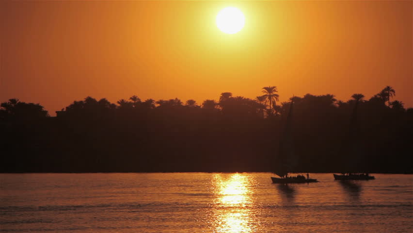 Feluccas At Sunset; River Nile Luxor Egypt