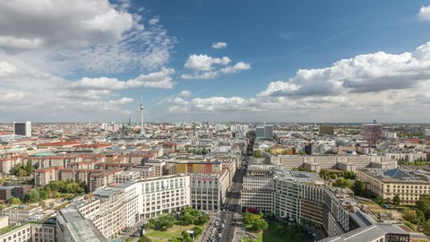 Berlin. City skyline.  Leipziger street, one of the major streets in Berlin, connects West and East side. View from Potsdamer square.