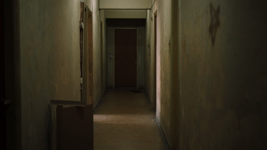 Walks Down The Creepy Hallway Stock Footage Video 7601485