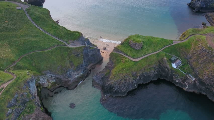 Aerial shot of the beautiful Carrick-a-Rede Rope Bridge. Carrick-a-Rede Rope Bridge is a famous rope bridge near Ballintoy in County Antrim Northern Ireland.