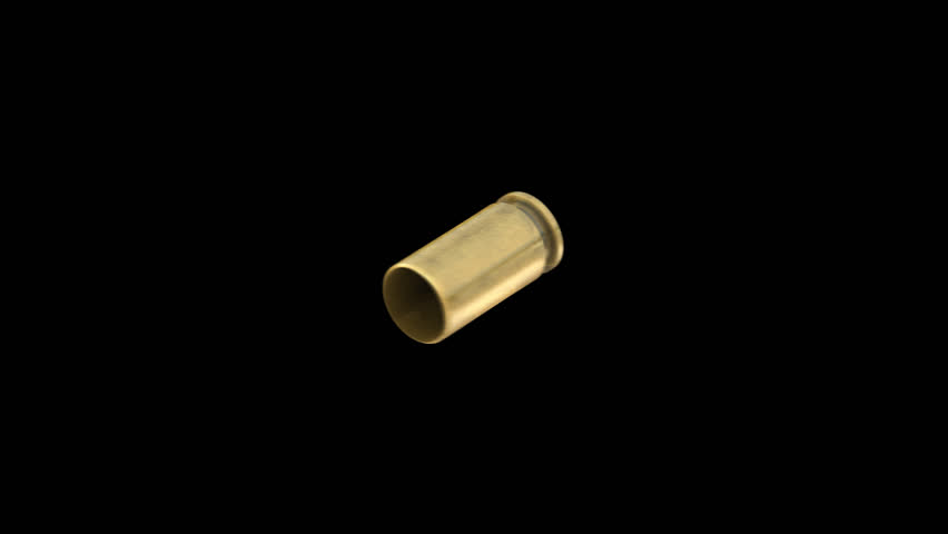 slow motion pistol bullet shell with alpha channel