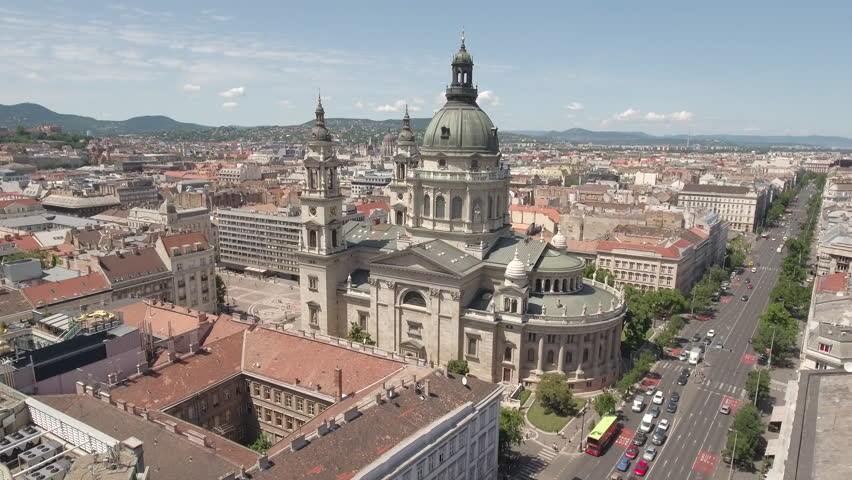 Aerial shot of Budapest downtown - St. Stephen's basilica, June 2016: Budapest, Hungary | Shutterstock HD Video #22496107