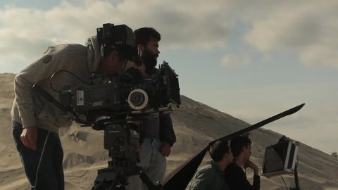 KIEV, UKRAINE - SEPTEMBER 21, 2015. The cameraman and Director during the filming of the movie