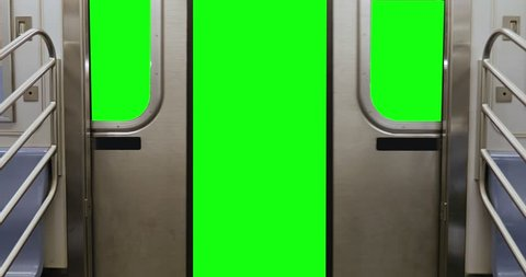 A New York City subway car's doors open to reveal a green screen for your custom content.