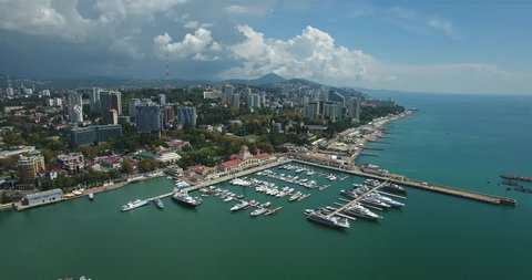 Aerial view of Sochi. Seaport in city center.