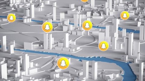 BRISBANE, AUSTRALIA - DECEMBER 23, 2016 : Snapchat Icon on Aerial View of City Buildings 3D Rendering Animation 4K. Editorial Animation