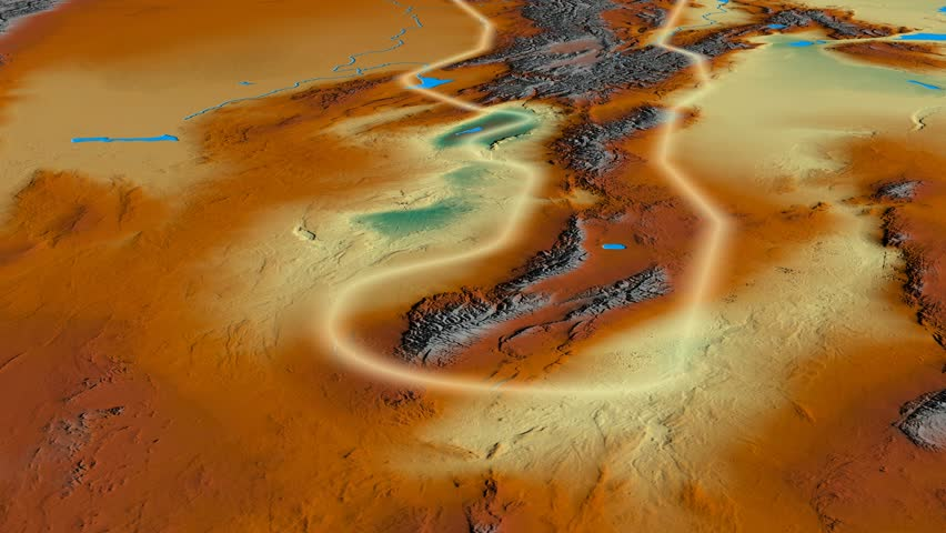 Glide over Tian Shan mountain range - glowed. Relief map. High resolution ASTER GDEM data textured