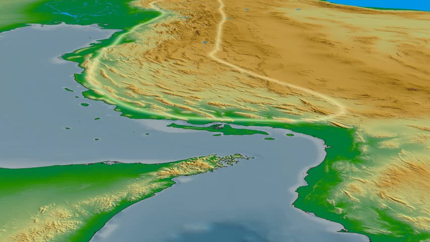 Glide over Zagros mountain range - glowed. Colored physical map. High resolution ASTER GDEM data textured