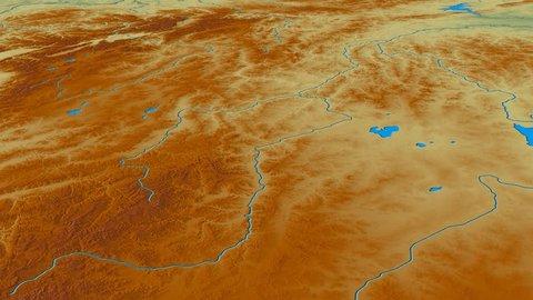 Glide over Yablonovyy mountain range - masks. Relief map. High resolution ASTER GDEM data textured