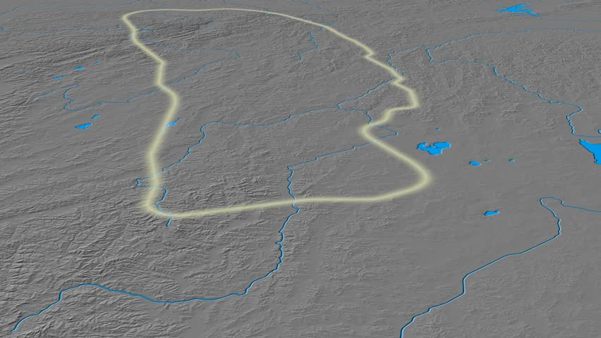 Glide over Yablonovyy mountain range - glowed. Elevation map. High resolution ASTER GDEM data textured