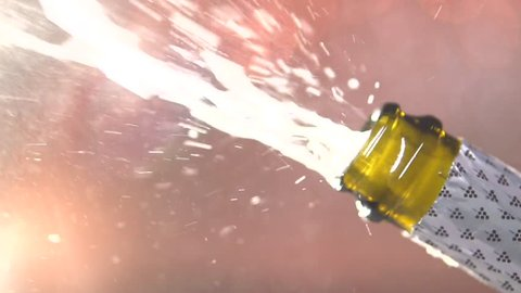 Opening champagne bottle closeup. Sparkling Wine over Holiday Bokeh Blinking Background. Slow motion 240 fps.. Full HD 1080p.