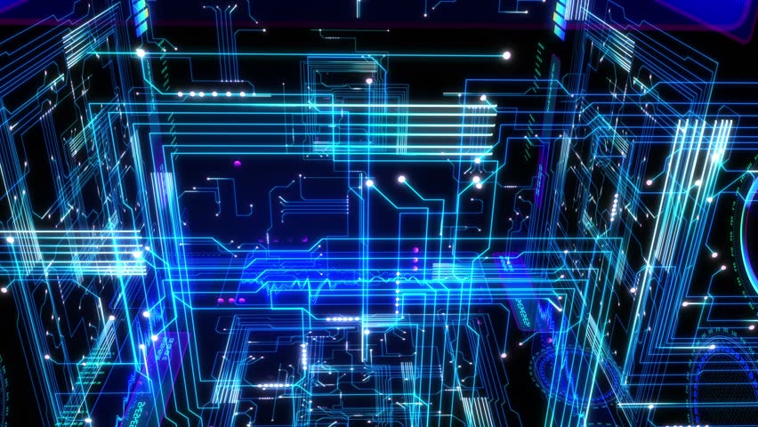 4K Futuristic technological abstract motion background, circuits, charts, digits, schemes, etc. | Shutterstock HD Video #22579867