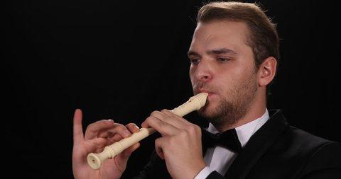 Flutist Man Play Recorder Flute Classic Music Instrument Symphonic Orchestra Job