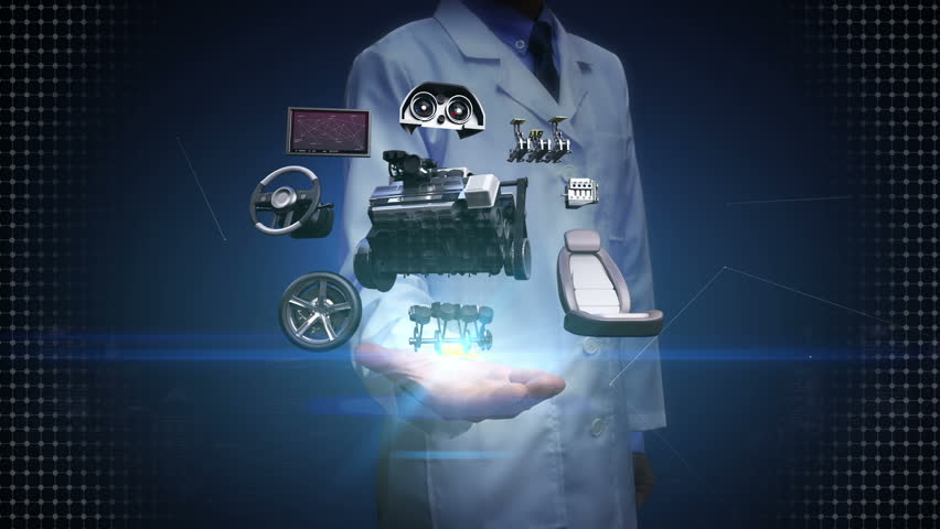 Researcher, Engineer open palm, Vehicle parts,Engine, seat, Instrument panel, navigation, Accelerator pedal, audio video system, tires, future car technology.
