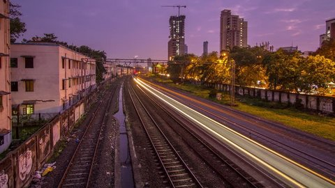 time lapse of the moving trains in Mumbai, India