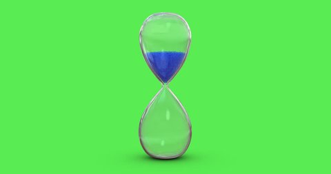 4K Hourglass Blue Sand Flowing on Green Screen Background