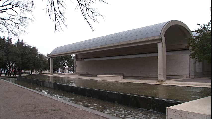 Kimbell Art Museum and reflecting pool, to waterfall in pool, Ft. Worth, Texas