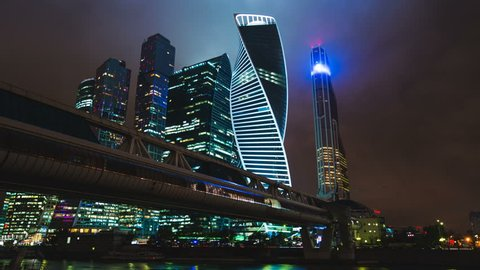 Night hyperlapse of Skyscrapers in International Business Center City in Moscow, Russia  timelapse
