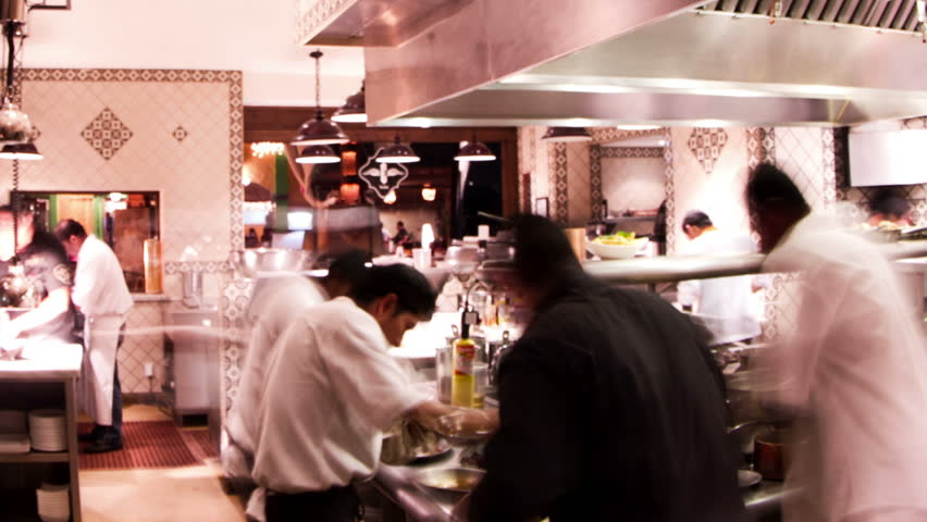 Restaurant Kitchen Video baja, mexico - may 2012: 4k timelapse shot of chefs preparing food