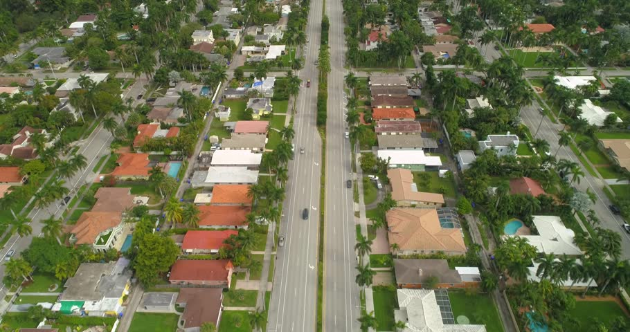 Aerial video of coastal real estate in Miami Beach