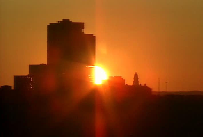 Fort Worth Skyline - Sunset through buildings