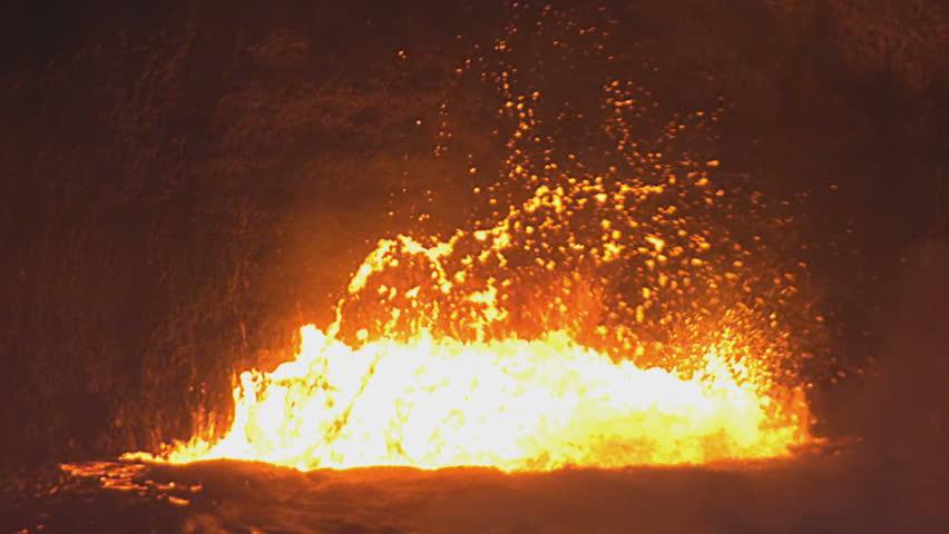 Crater lava lake on active Kilauea Volcano on Big Island, Hawaii, USA