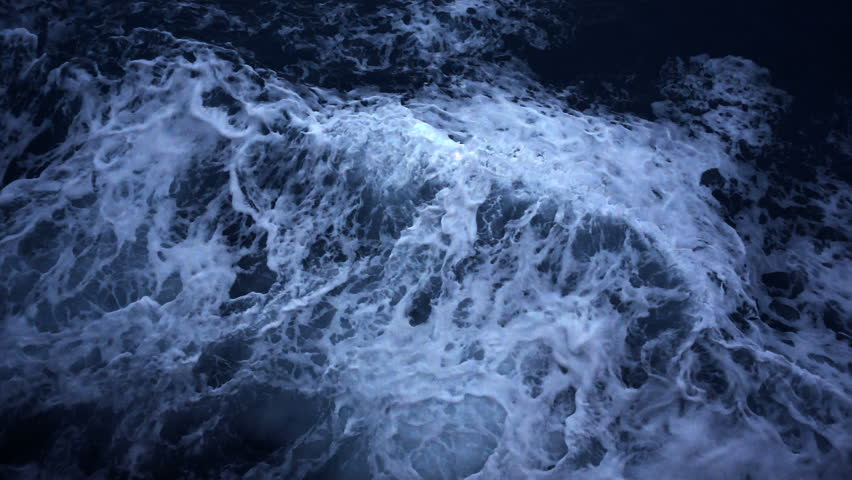 ocean wave sea impact flow slow motion top aerial view background at night