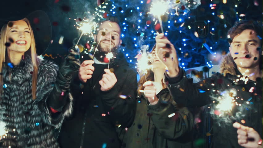 Young people on a New Year's eve party at midnight